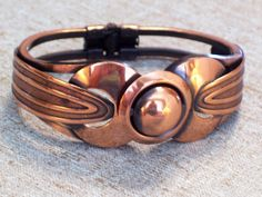 Modernist Copper Bracelet Vintage Copper Hinged by TheCopperCat