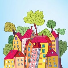 Whimsical houses and trees in the town Stock Photo