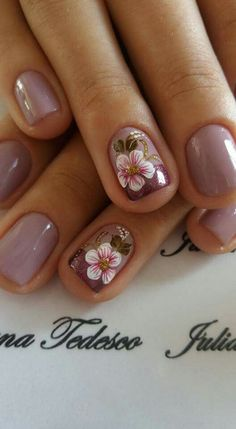 39 Hottest Beautiful Flower Nail Art You Can Copy Now Gorgeous Nails, Pretty Nails, Beautiful Nail Art, Ombre Nail Designs, Nail Art Designs, Nails Design, Design Design, Gel Nagel Design, Flower Nail Art