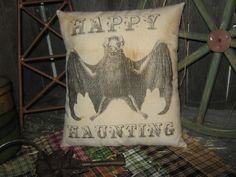 "Primitive Halloween BAT Pillow  "" HAPPY HAUNTING ""  Witch Tuck / Bowl Fillers  Bats Scarecrow Holiday ThanksGiving  Fall Black Cat"