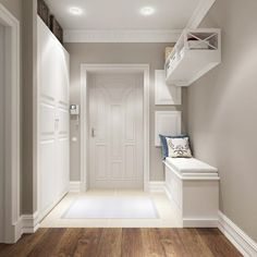 modern corridor design with concrete floor and indirect . modern corridor design with concrete flo Flur Design, Hall Design, Hallway Decorating, Interior Decorating, Interior Design, Style At Home, White Hallway, Modern Hall, Room Colors