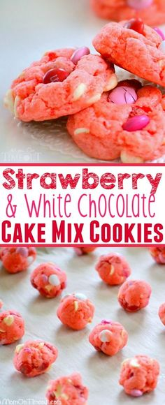 Super moist and delicious Strawberry and White Chocolate Cake Mix Cookies! This recipe uses a SECRET INGREDIENT for the moistest cookies EVER! So pretty and pink!