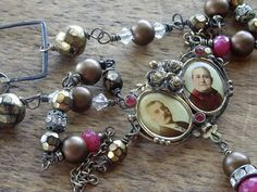 Victorian Double Photo Pin Necklace Brass and door WhatOnceWas, $225.00