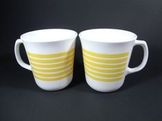Vintage Corning Yellow Stripe Coffee Mugs, Pair, Retro Kitchen - pinned by pin4etsy.com