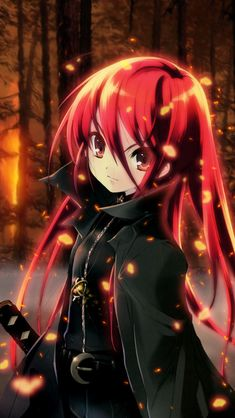 Red Hair Anime Girl iPhone 5 Wallpapers