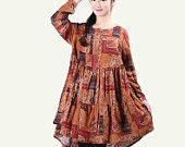 Loose Aline Orange Women Cotton Linen Shirt Retro Floral Dress Irregular Hem Plus Size Blouse Patchwork Dress