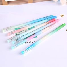 (6 pieces/lot) Gradient Candy Color Gel Pen Ink Pen Marker Promotional Gift Stationery School Office Supply Escolar Papelaria