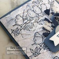 Stampin Up Free as a Bird masculine card.  Sara Levin Stampin Up ideas  theartfulinker.com  #handmadecards #rubberstamps #cardmaking #stampinupfreeasabird #stampinupcards #masculinecards #cardsforguys #ingoodtastedesignerpaper #oldwolrdpaperembossingfolder #stampinup #stamping #saralevin #theartfulinker My Scrapbook, Scrapbooking, Navy Flowers, Boutique Design, Paper Pumpkin, Masculine Cards, Paper Design, Stampin Up Cards, Cardmaking