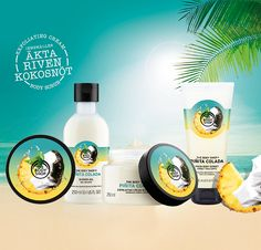 The Body Shop lanserar Piñita Colada kroppskollektion Makeupedia - chryssa beauty The Body Shop, Body Shop At Home, Face Care, Body Care, Skin Care, Hei Poa, Cosmetic Design, Perfume, Packaging