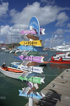 Caribbean, French West Indies, St Barthelemy, St Barth, St Barts, Gustavia, signpost, signage
