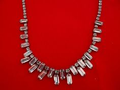 Gorgeous vintage 18 rhinestone and silver necklace in by jeanmc, $45.00
