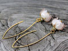 Lampwork Flower Earrings Glass Roses by JewelryBeadsByKatie #Lampwork #Flower #Earrings #LampworkEarrings #FlowerEarrings #lampworkbeads #hookearrings