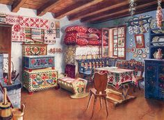 Giclee Print: Austro-Hungarian Peasant Furniture, by Edwin Foley : Hand Painted Furniture, Furniture Decor, Mexican Design, Scandinavian Folk Art, Austro Hungarian, Arte Popular, Cottage Interiors, Foyers, Decoration