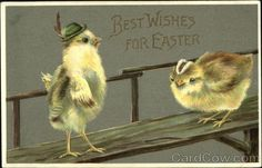 Chicks in Hats Best Wishes for Easter
