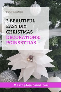 Check out these 3 easy Christmas decor you can make today with Poinsettias. Including a step by step on how to make these Poinsettia flowers. #diychristmas #poinsettias #paperflowers Simple Christmas, Christmas Home, Christmas Tree Ornaments, Cute Diy Projects, Green Craft, Diy Christmas Decorations Easy, Poinsettia Flower, Home Decor Hacks, Spring Home Decor