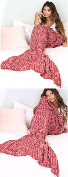 Cute mermaid blanket sofa air conditioning blanket, Hand Crocheted Adult Cherry Blossom Mermaid Blanket