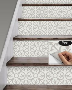 Stair Riser Vinyl Strips 15 steps Removable Sticker Peel & Stick: Taupe/Beige by SnazzyDecal on Etsy Informations About Stair Riser Vinyl Strips 15 steps Removable Sticker Peel & Stick: Taupe/ Tile Decals, Vinyl Decals, Stair Risers, Banisters, Railings, Diy Stair, Stair Steps, Staircase Makeover, Basement Stairs