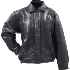 Giovanni Navarre Black Buffalo Leather Bomber Jacket