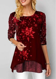 New Arrival | Liligal.com Stylish Tops For Women, Trendy Tops For Women, T Shirt Flowers, Types Of Dresses, Holiday Dresses, Trendy Fashion, Fashion Clothes, Flower Prints, Colorful Shirts
