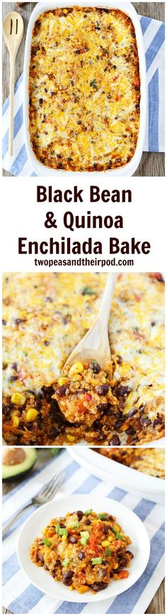 Black Bean and Quinoa Enchilada Bake Recipe is a family favorite dinner! Even kids love this easy vegetarian dinner recipe! It freezes well too! #vegetarian #dinner