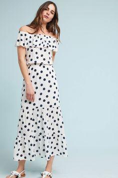 Polka Dot Off-The-Shoulder Petite Dress | Anthropologie