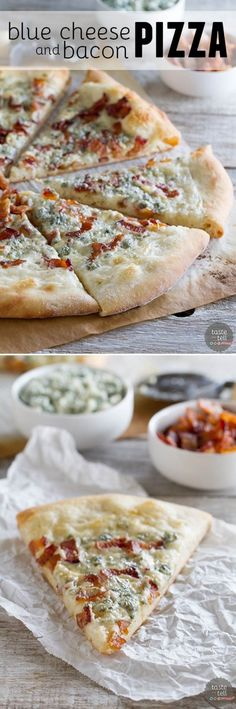 Blue Cheese and Bacon Pizza.  Pizza crust is topped with an easy béchamel sauce, bacon and blue cheese for a gourmet pizza at home. sub gf flour and crust