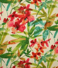 Contemporary tropical decorating fabric by Pindler. Item TAH007-RD01. Free shipping on Pindler products. Always first quality. Search thousands of patterns. Width 54 inches. Swatches available.