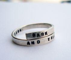 Grey's Anatomy handstamped Silver quote Ring 'Dark by BonnyandRead, €29.00