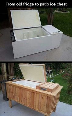 Old fridge transformed into a patio cooler! #innovative
