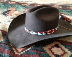 Beaded Hat Bands, Southwestern Style, Loom Beading, How To Make Beads, Diamond Bands, Beaded Earrings, Cowboy Hats, Triangle, Beadwork