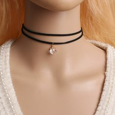 N758  Double Layer Chokers Necklaces 80's 90's Inspired Plain Black Necklace Gothic Handmade Zirocn Stone Pendant For Women #Affiliate