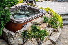 hot tub landscaping ideas | Bullfrog spas long island hot tub Huntington built in spa 1