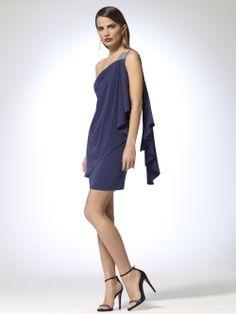 One Shoulder Wrap Rhinestone Dress