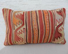 12x20''  PALE  Colors Handembroidered Kilim Pillow Cover,Bohemian Decor Large Wool  Kilim Lumbar Cushion , Bolster Pillow,Geometric Cushions