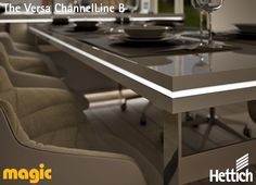 The Versa ChannelLine B allows for Versa LED linear lights to be installed directly into furniture edges for an eye-catching finish. Magic Lighting is available from Hettich,click on the pin for more inspiration & information! #lightingdesign #moodlighting