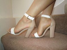 Nude White Barely There Ankle Strap Chunky Heels Sandals Size UK 4 EU 37 US 7