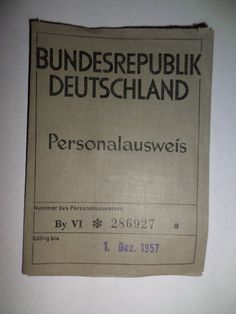 Alter;Personalausweis;Personal;Ausweis;Lichtbild;BRD;von;1952;GUT !!!