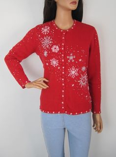 Vintage 1980s Red Festive Novelty Christmas Snowflake Cardigan from Virtual Vintage Clothing