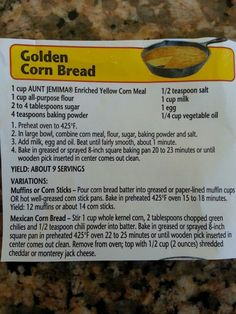 Jemima corn bread recipe I made a double batch of these muffins last night. - Back of the Box or Bag Recipes -Aunt Jemima corn bread recipe I made a double batch of these muffins last night. - Back of the Box or Bag Recipes - Self Rising Flour Pizza Dough Recipe, New Recipes, Cooking Recipes, Favorite Recipes, Kitchen Recipes, Healthy Recipes, Aunt Jemima Cornbread Dressing Recipe, Thanksgiving Recipes, Sweets
