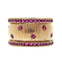 Mid Century Wide Ruby Pink Gold Ring   1stdibs.com