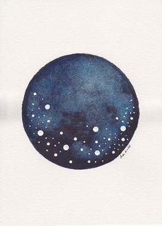 Abstract Painting . Circle and Dots . Star Planet . Indigo Orb V . Original Watercolor . Planetscape Series . 5 x 7 Original