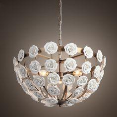 2016 new design white color ceramic flower pendant chandelier with LED bulbs dinning room light free shipping