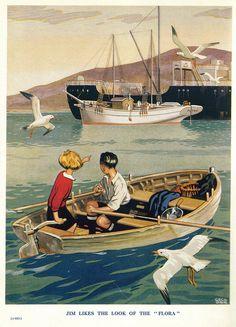 two kids in a rowboat vintage illustration