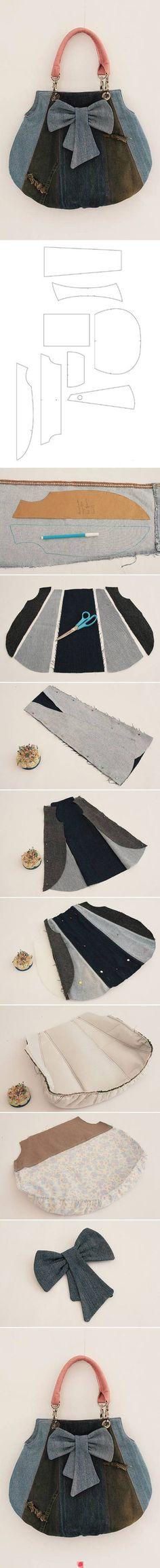 Good tutorial on making a Denim / Blue Jean Purse / Hobo Bag cute