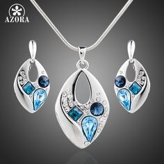 AZORA Platinum Plated Blue Stellux Austrian Crystal Clip Earrings and Necklace Jewelry Sets TG0042