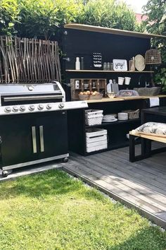 Best Outdoor Kitchen Ideas For Your Backyard In 2020 – Crazy Laura Modern Outdoor Kitchen, Outdoor Kitchen Bars, Backyard Kitchen, Backyard Patio, Rustic Outdoor Kitchens, Outdoor Rooms, Outdoor Furniture Sets, Garden Furniture, Outdoor Grill Station