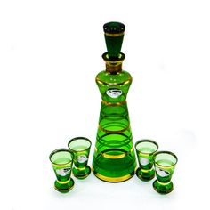 Vintage Coyne's Decanter and Cordial Set from Czechoslovakia (€55) ❤ liked on Polyvore featuring home, kitchen & dining, glass stopper, vintage cordial glasses and vintage decanter