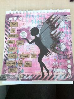 Altered Banksy calendar page - January. Darcy challenge.