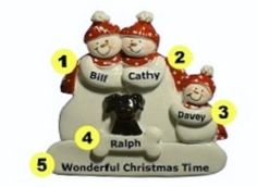 Personalized Snow Family Ornament  of 3 with Black Dog