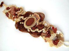 Beaded bracelet Beadwork bracelet Freeform peyote by ibics on Etsy